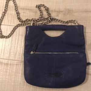 BCBGMAXARIA Leather Blue  Crossbody Clutch New